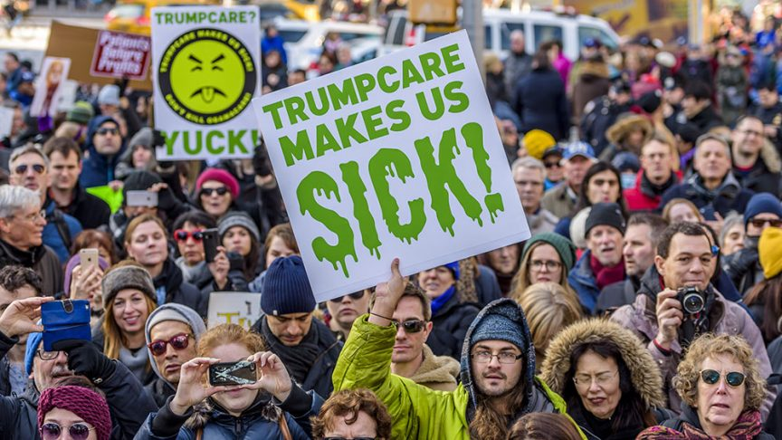 On January 15, 2017; Hundreds of activists and allies from the newly-formed anti-Trump group Rise & Resist stage a peaceful protest at Trump International Hotel and Tower in New York City on January 15, 2017, to fight against the radical changes to the American healthcare system proposed by the Trump Administration and Republicans. (Photo by Erik McGregor) *** Please Use Credit from Credit Field ***(Sipa via AP Images)